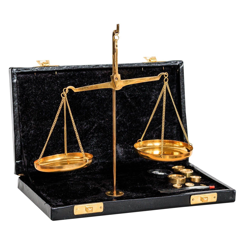 Bilancia ottone bilancetta di precisione bilancia dell'orafo stile antico - 21cm aubaho