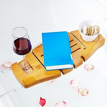 Lumaland Bandeja de bambú para bañera extensible con soporte atril para  libro 70 x 21 e309a61f85a6