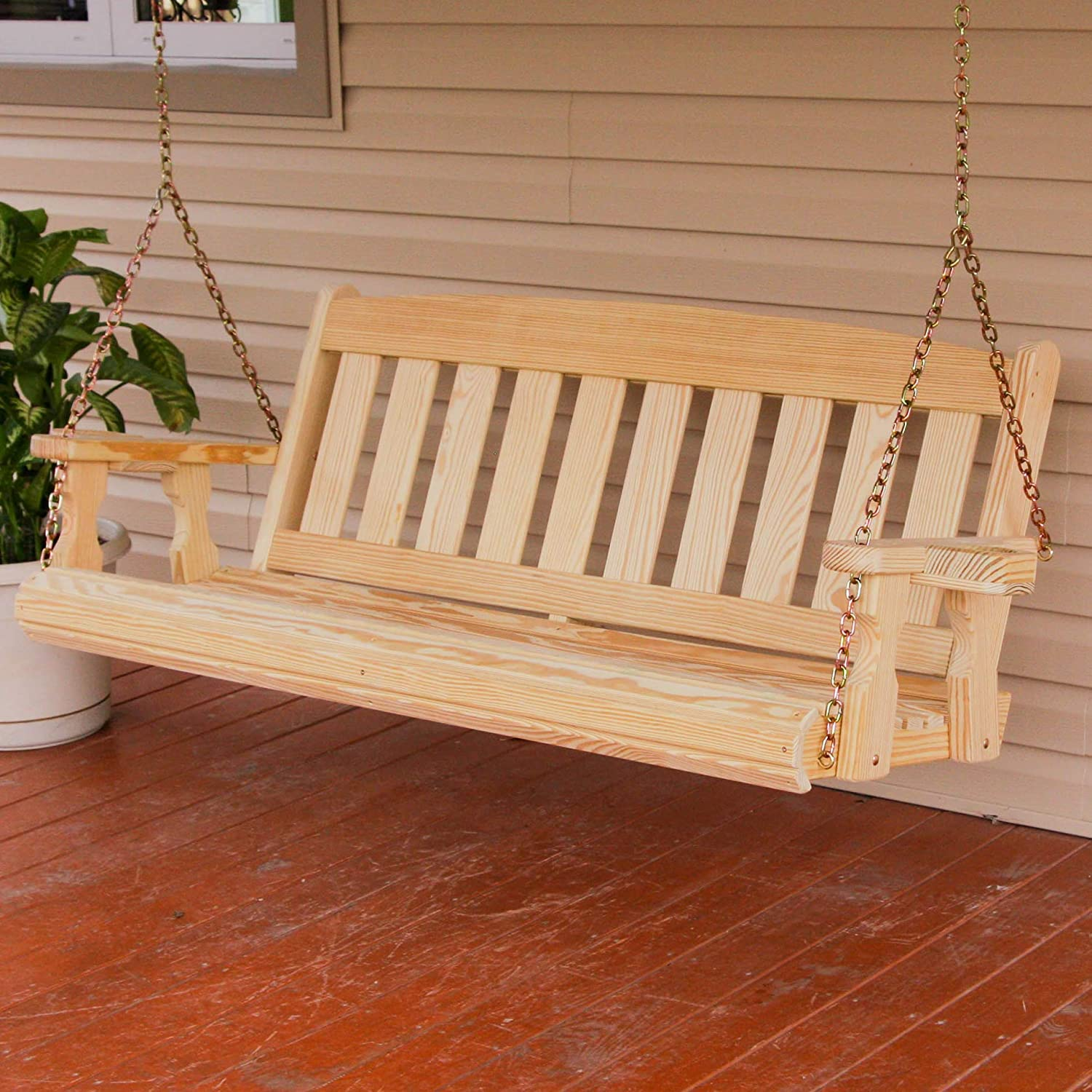 CAF Amish Heavy Duty 800 Lb Mission 5ft. Treated Porch Swing With Cupholders
