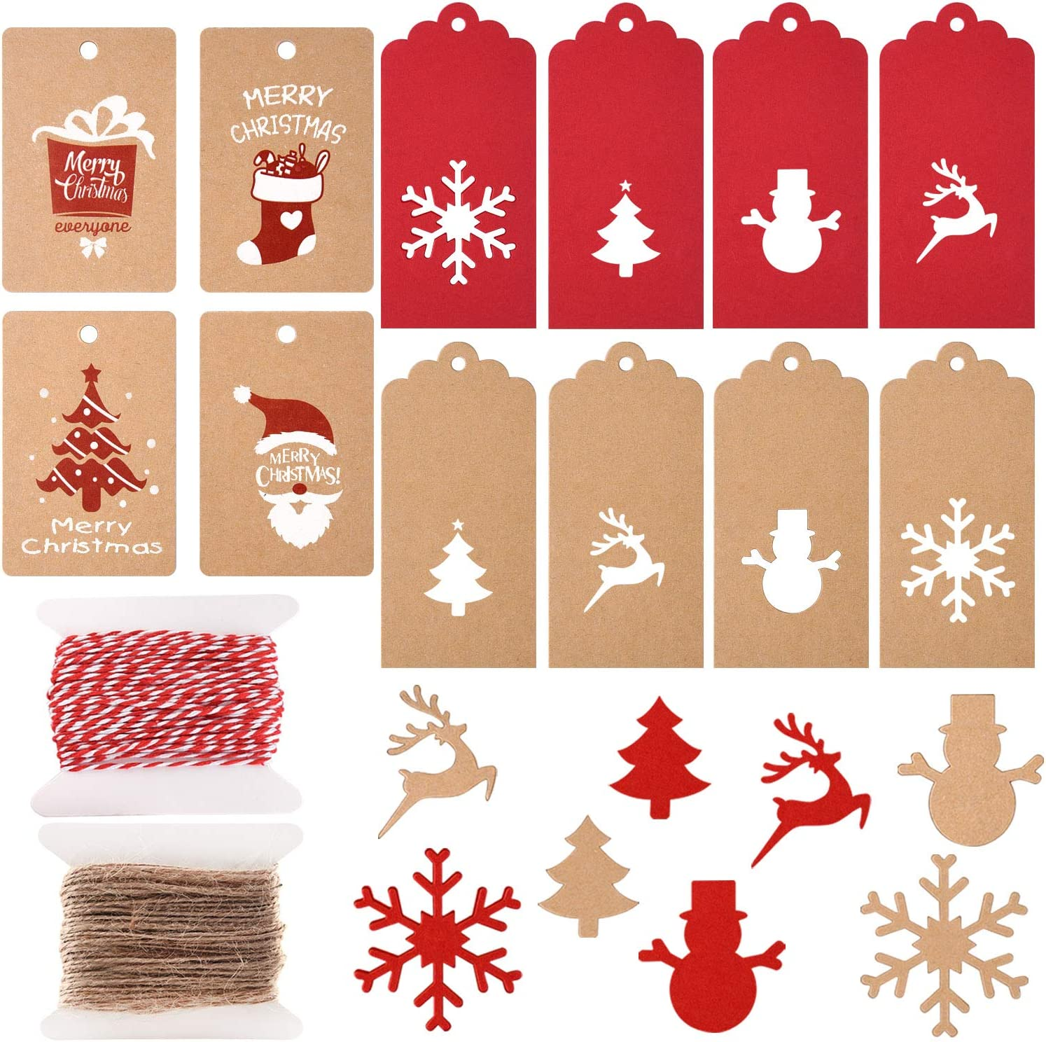 Amazon Com Tuparka 200 Pcs Christmas Paper Tags Kraft Gift Tags Hang Labels Christmas Tree Snowflake Elk For Diy Christmas Gift Label Package Name Card 12 Styles Office Products