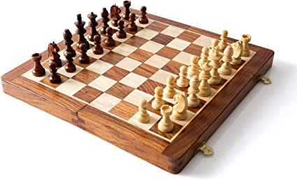 Wooden Hand Crafted (Magnetic) (7 in x 7 in) Foldable Chess Board Game