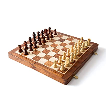 FITFREAK Magnetic Wooden Hand Crafted Foldable Chess Board Game (14 x 14-inch)