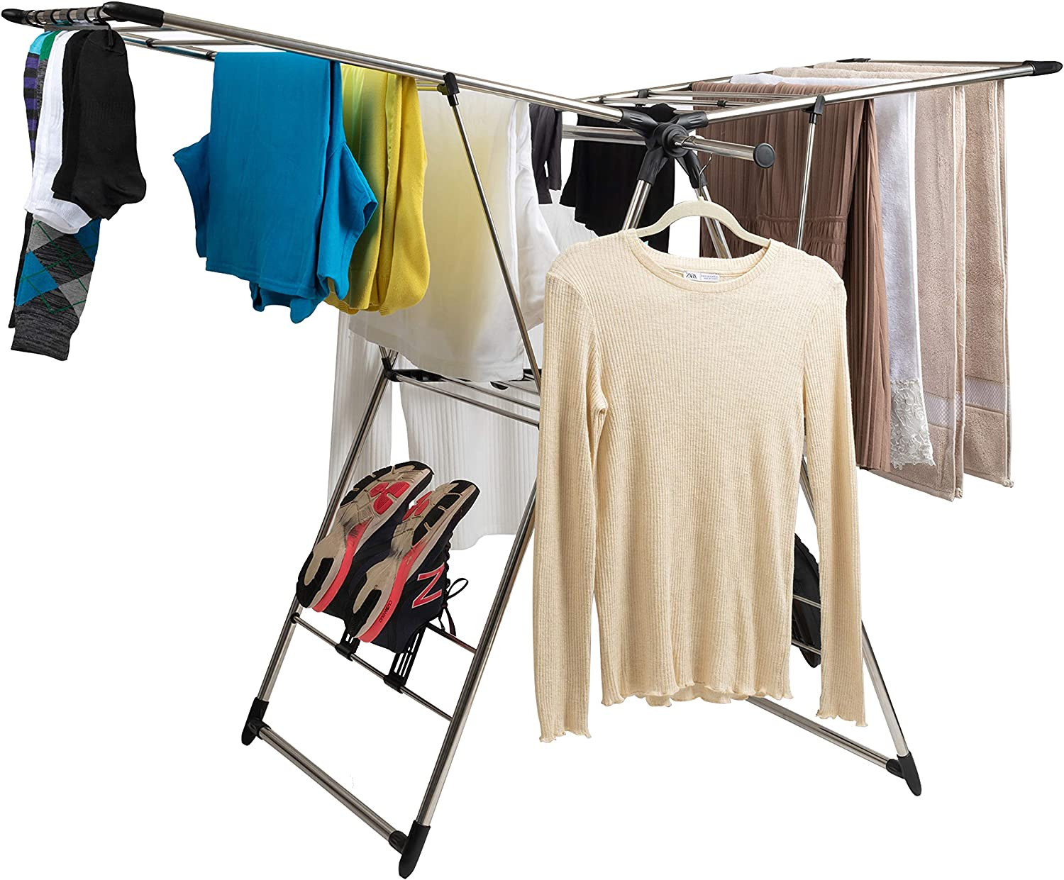 Baflan Stainless Steel Clothes Drying Rack - Laundry Rack with Hanging Rods, Sock Clips and Shoe Hangers - Adjustable Gullwing and Foldable for Easy Storage