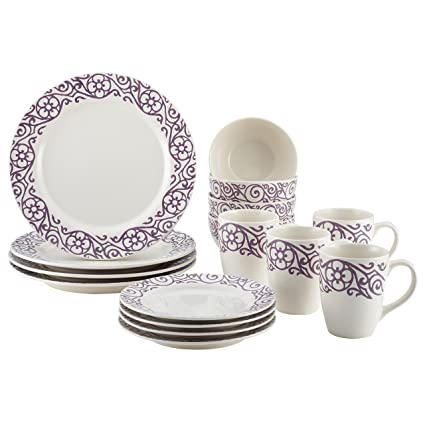 Rachael Ray Dinnerware 16-Piece Scroll Stoneware Dinnerware Set Lavender  sc 1 st  Amazon.com & Amazon.com | Rachael Ray Dinnerware 16-Piece Scroll Stoneware ...