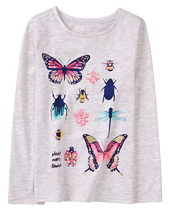 318030a23 Amazon.com: Gymboree Girls' Little Long Sleeve Sequin Graphic Tee: Clothing