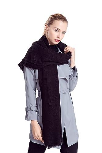 Donna Tinta Unita Morbido Extra Grande Cashmere Feel Sciarpe Stole Scialli Wrap Con Fringe(Nero)