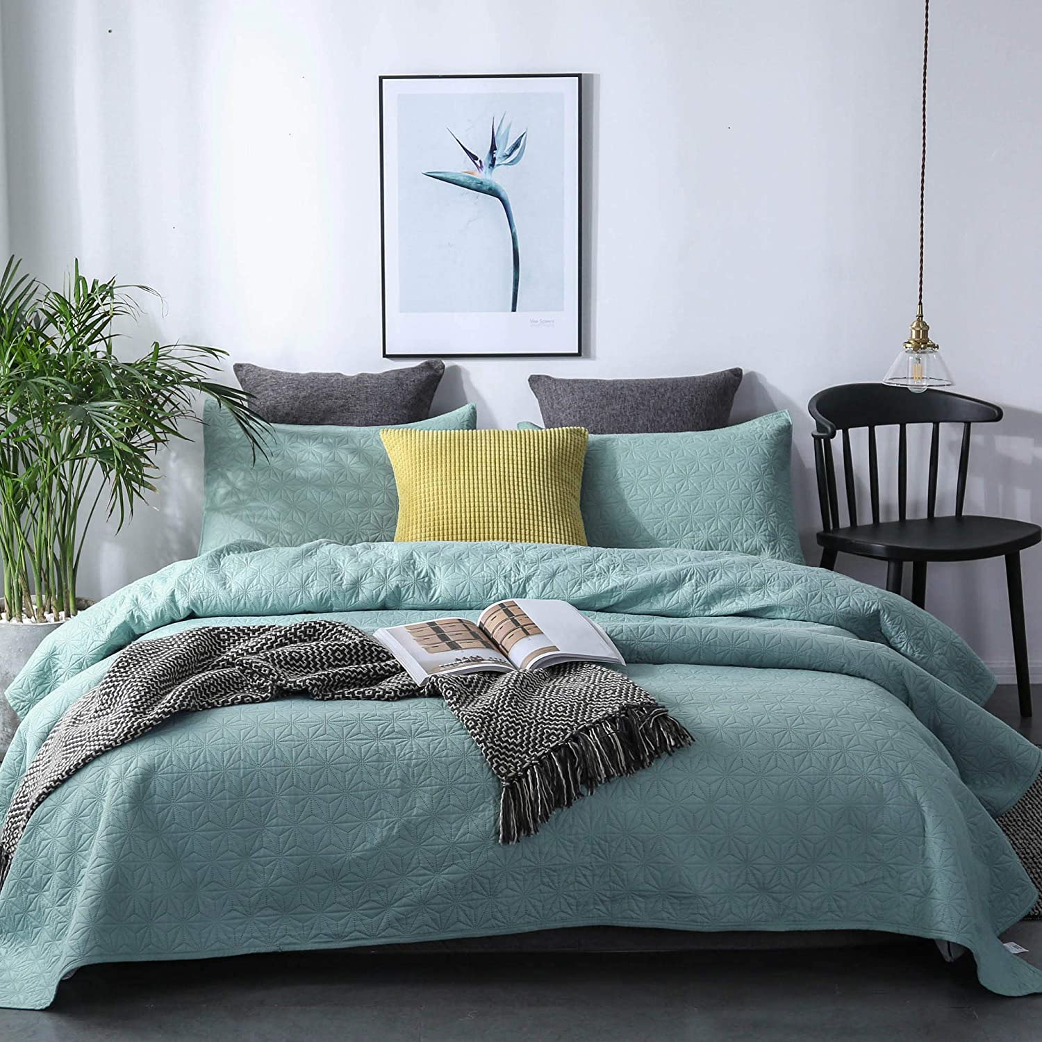 Aqua Sea Green Solid Colors Bedspread Luxury Microfiber Soft Warm Bedding KASENTEX Quilted Coverlet Set Contemporary Star Design 1 Sham Twin Pre Washed
