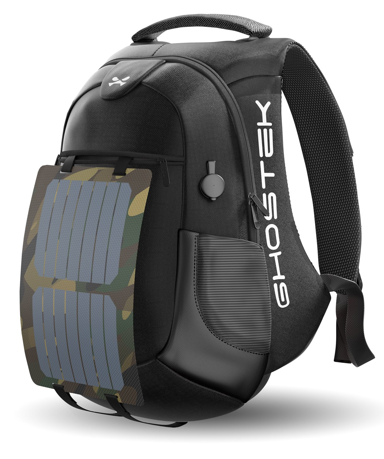 Ghostek NRGsolar Series 40L Eco Computer Laptop Messenger Backpack Book Bag + 16,000mAh Power Bank with 5 USB Ports | Water Resistant | 8.8-Watt Solar Panel | Laptops Up To 15.6'' (Black) by Ghostek