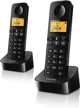 Philips CE D2102B - Teléfono Fijo Digital (inalámbrico, 50 entradas), Negro (Importado): Amazon.es: Electrónica