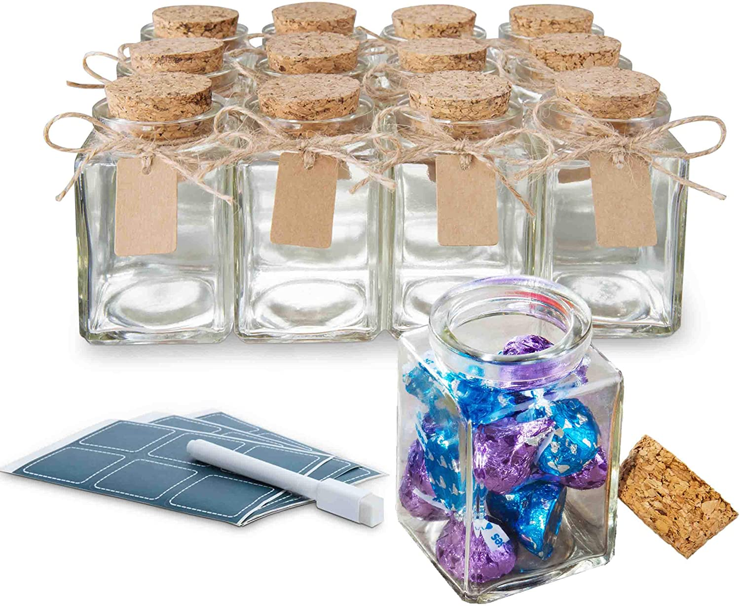 Glass Jar with Cork Lid 3.4Oz Clear Glass Container