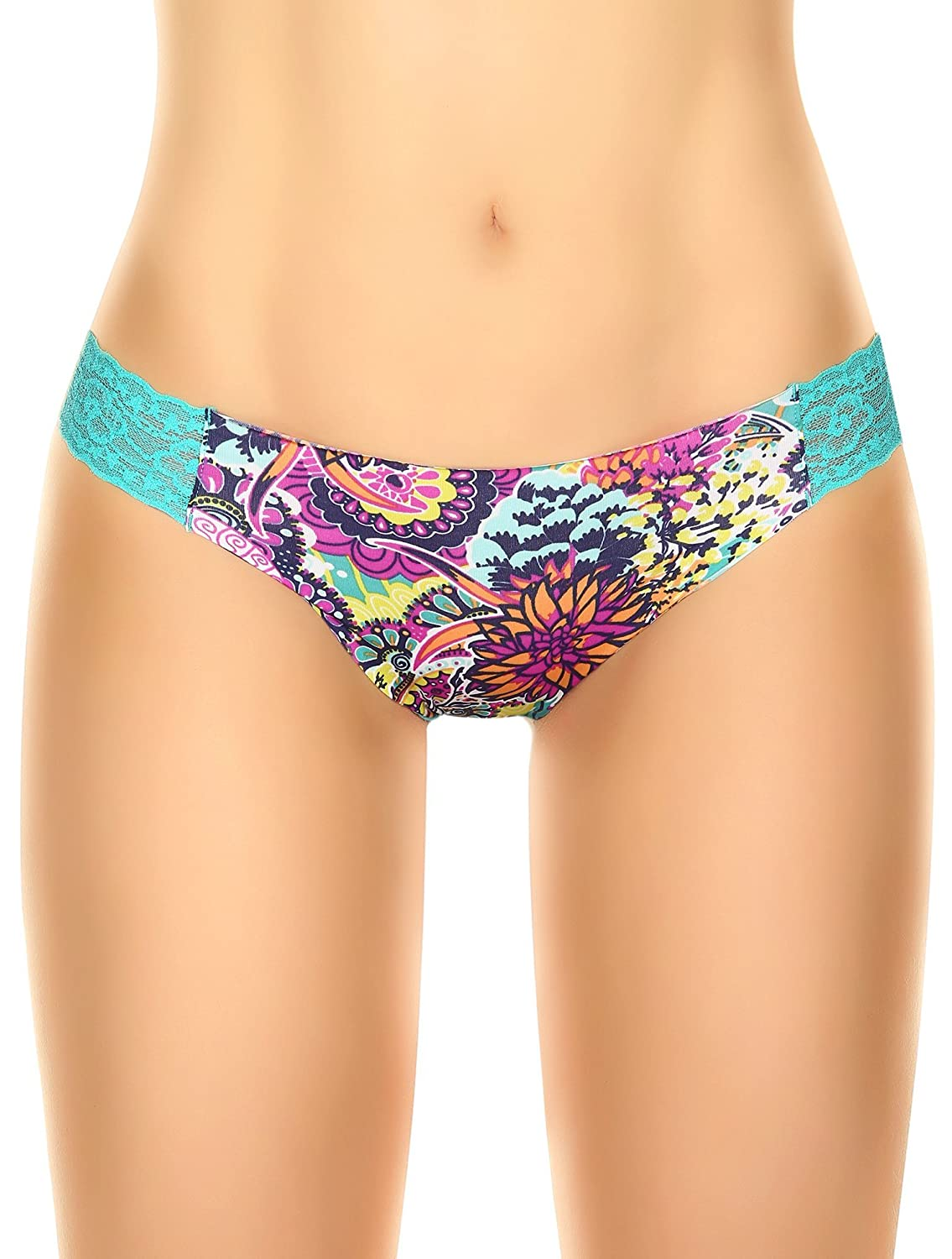 Laura Women's Raw Cut Edge Thong Lace Sides Abstract Flower Prints