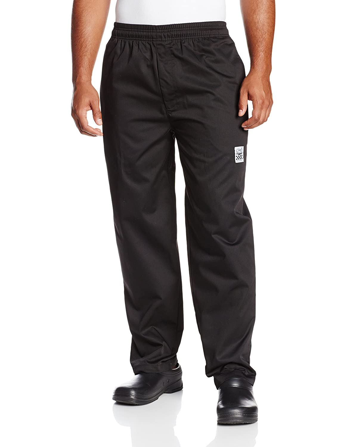 Chef Revival P002BK Poly Cotton Blend E-Z Fit Pant with 2 Side and 2 Rear Pockets, Small, Black San Jamar P002BK-S