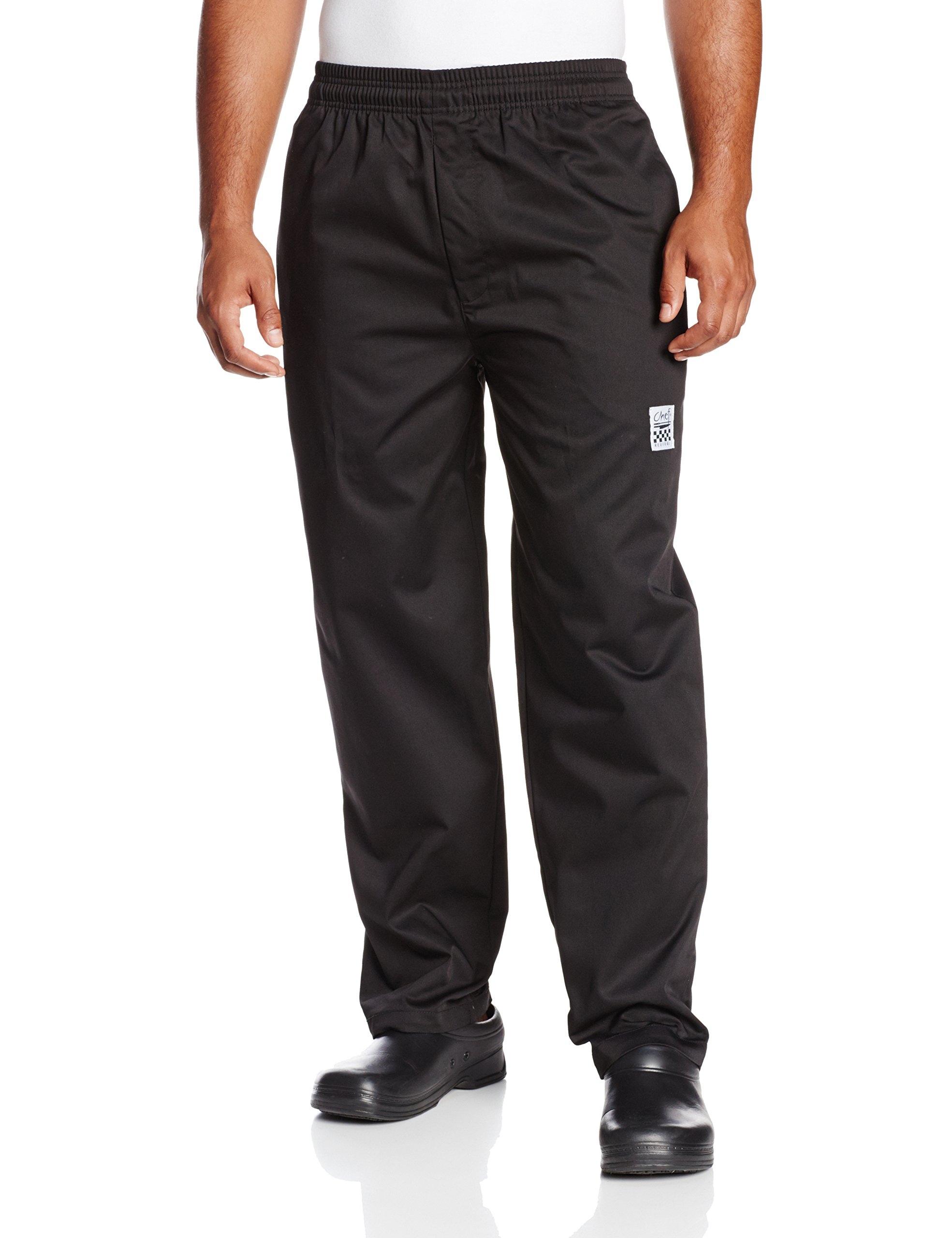 Chef Revival P002BK Poly Cotton Blend E-Z Fit Pant with 2 Side and 2 Rear Pockets, Medium, Black