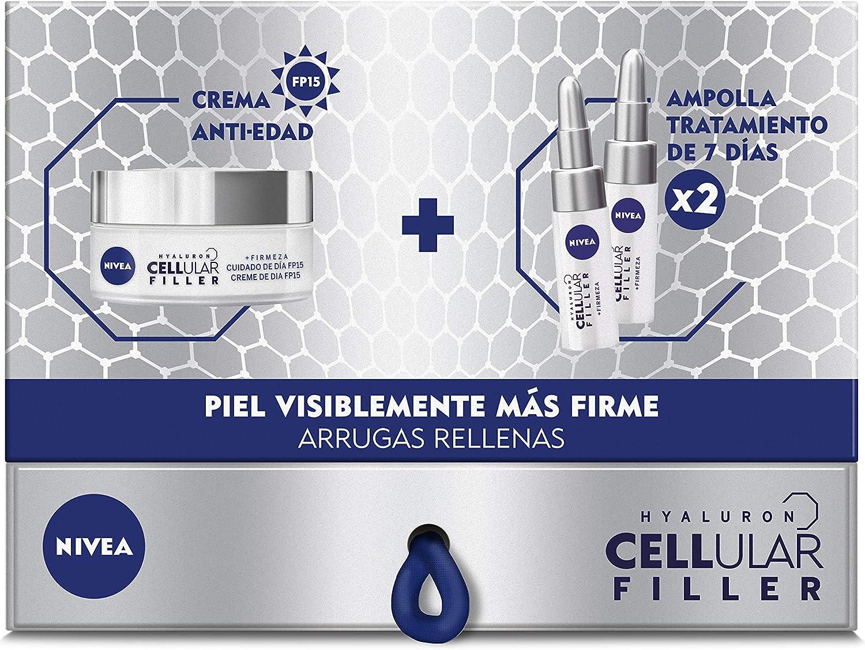 NIVEA Pack Hyalurron Cellular Filler Crema Antiedad Día y 2 Ampollas de Ácido Hialurónico - Estuche: Amazon.es: Belleza