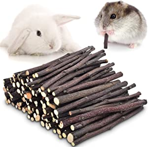 ERKOON 300g or 500g Organic Natural Apple Sticks Small Animals Molar Treats Chew Toys Apple Branch for Hamster Rabbit Bunny Guinea Pig Chinchilla Squirrel