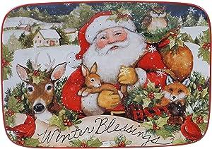 Certified International Magic Of Christmas Santa Rectangular Platter, Multicolored