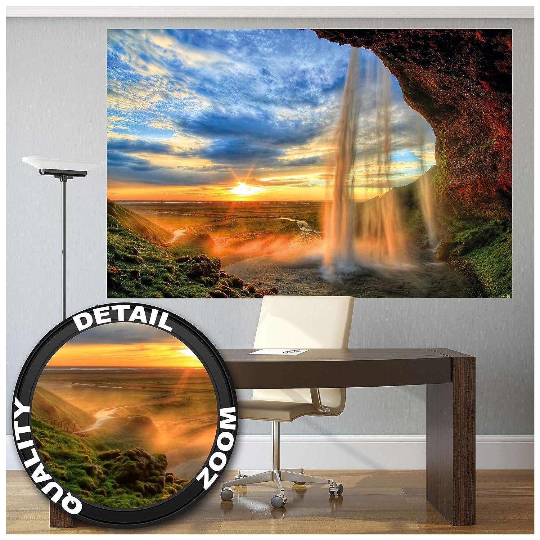 Great Art XXL Poster 140 x 100 cm Wasserfall Wandbild Dekoration Sonnenuntergang vor Horizont Natur Entspannung Landschaft Romantik Felsen Fluss Relax Wandposter Fotoposter Wanddeko Motiv