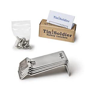 Tin Soldier Metal Cabinet and Drawer Safety Latches (5-Piece Set) | Heavy-Duty Stainless Steel Design! | Home, Kitchen, Bathroom, Garage, Boat, RV | Helps Protect Kids, Pets | Includes Hardware