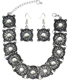 The Jewelbox Antique Tribal Afghani Bohemian Oxidised German Silver Choker Necklace for Women Rakhi Raksha Bandhan Gift
