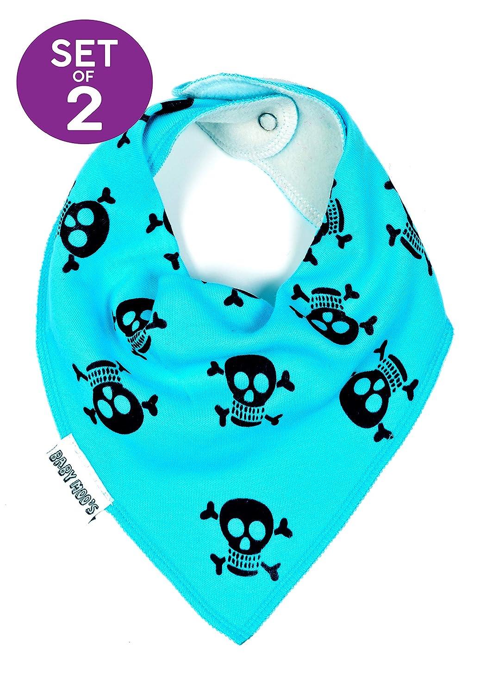 2 x AWARD WINNING BLUE Skull & Crossbones Baby Dribble Bibs | Alternative Pirate Punk Goth Baby Bandana Bib [PACK of 2 Boys or Girls] Halloween Cool Baby Shower, Twin or 1st Birthday Gift | BABY MOO'S Blue Skull Bib