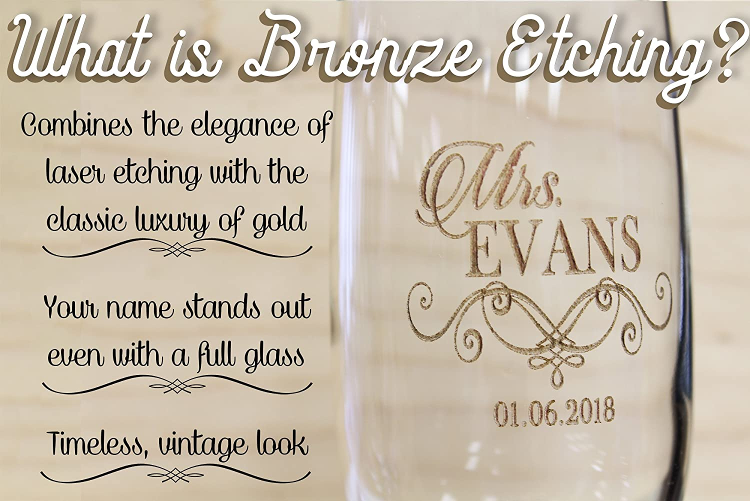Pair of Bronze Etched Personalized Wedding Toasting Champagne Flutes