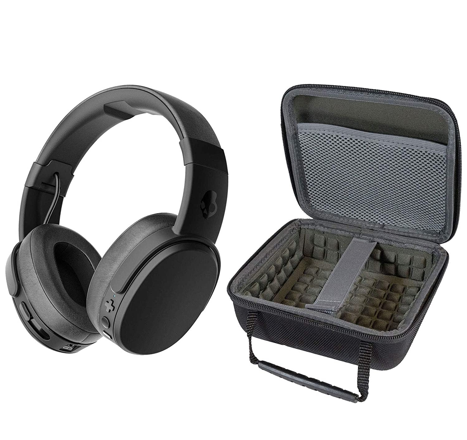 Skullcandy Crusher Foldable Noise Isolating Over-Ear Wireless Bluetooth Immersive Headphone Bundle with Portable Hardshell Case - Black/Coral