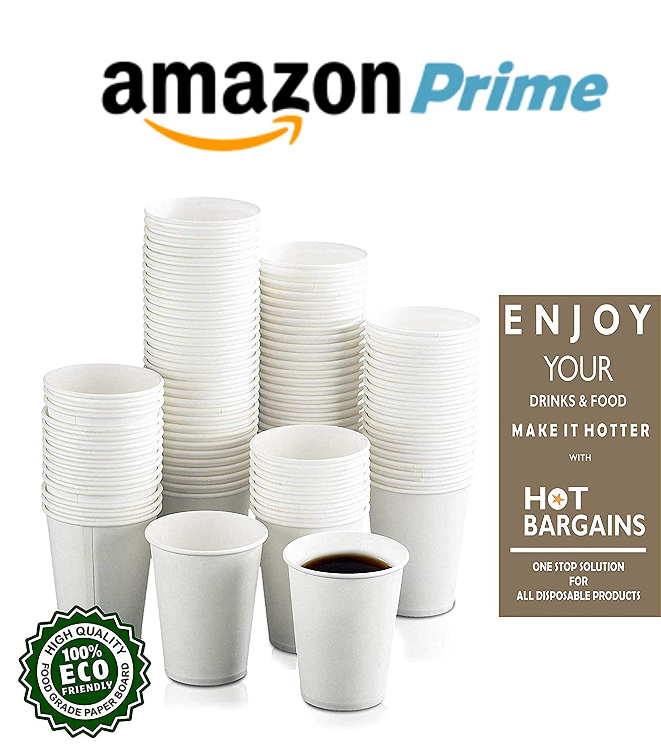 100 x 7oz White Paper Cups For Hot Drinks Disposable Coffee Tea Cups Recyclable
