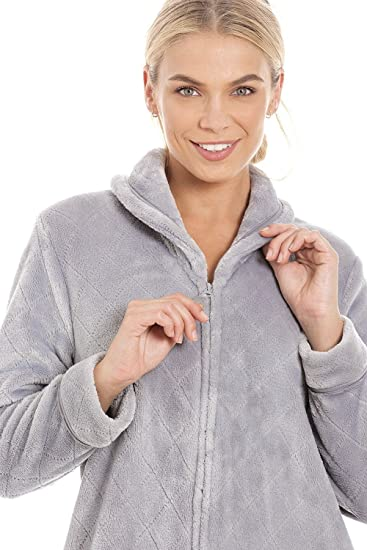 Camille Womens Ex Marks & Spencers Gray Fleece Housecoat at Amazon Womens Clothing store: