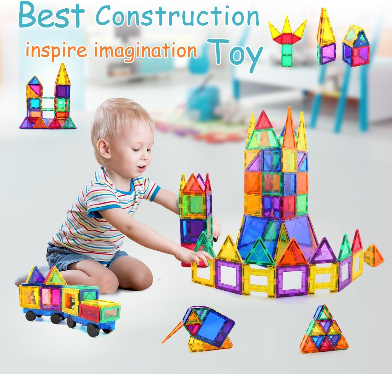 Magna Tiles Clear Colors 100 Pcs 3D Set Magnetic Building Toy smarter 3 kids