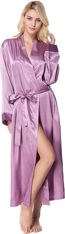 Lavenderi Womens Long Classic Satin Kimono Lounge Bathrobe Robe