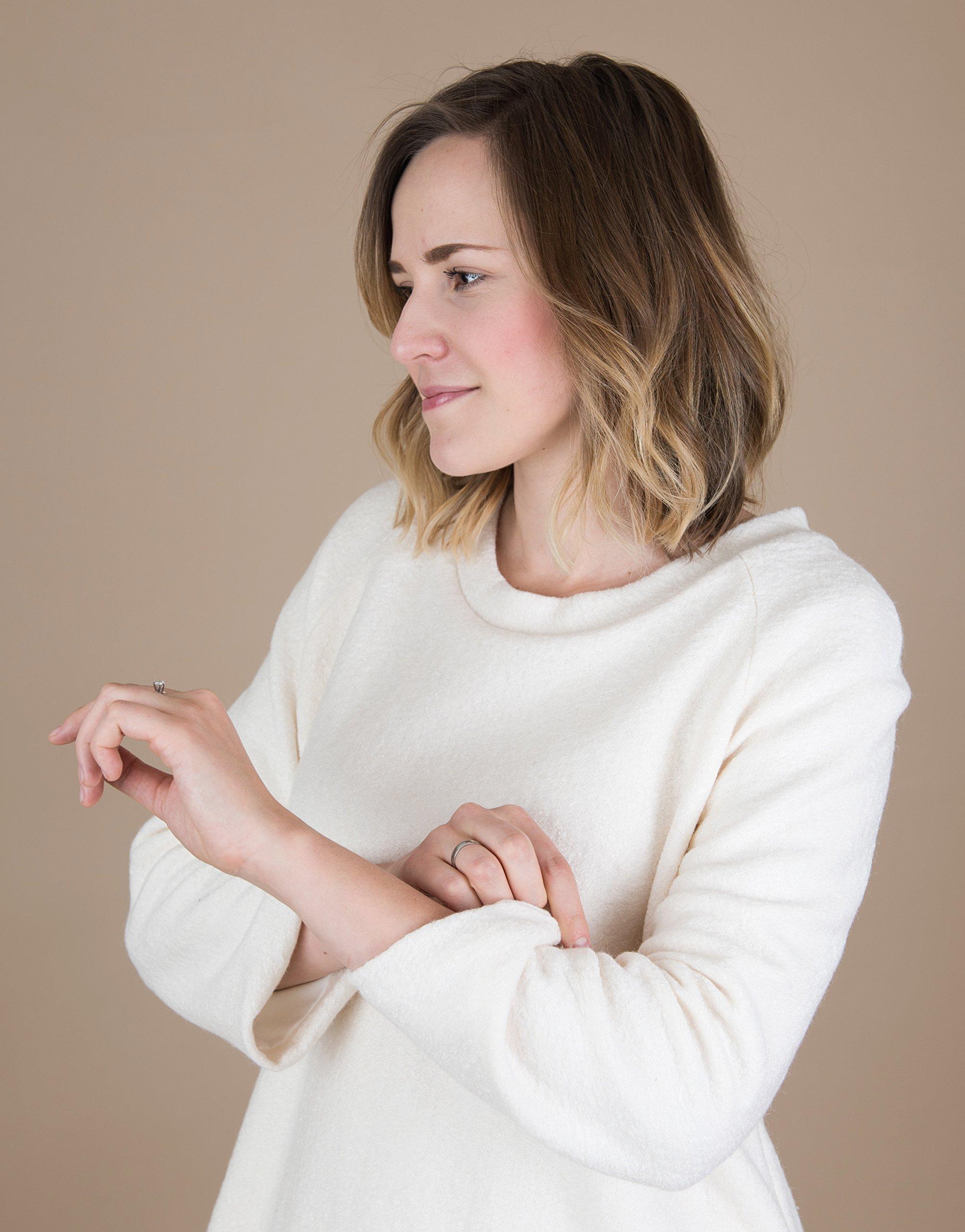 Women's Long Raglan Sleeve White Wool Sweater