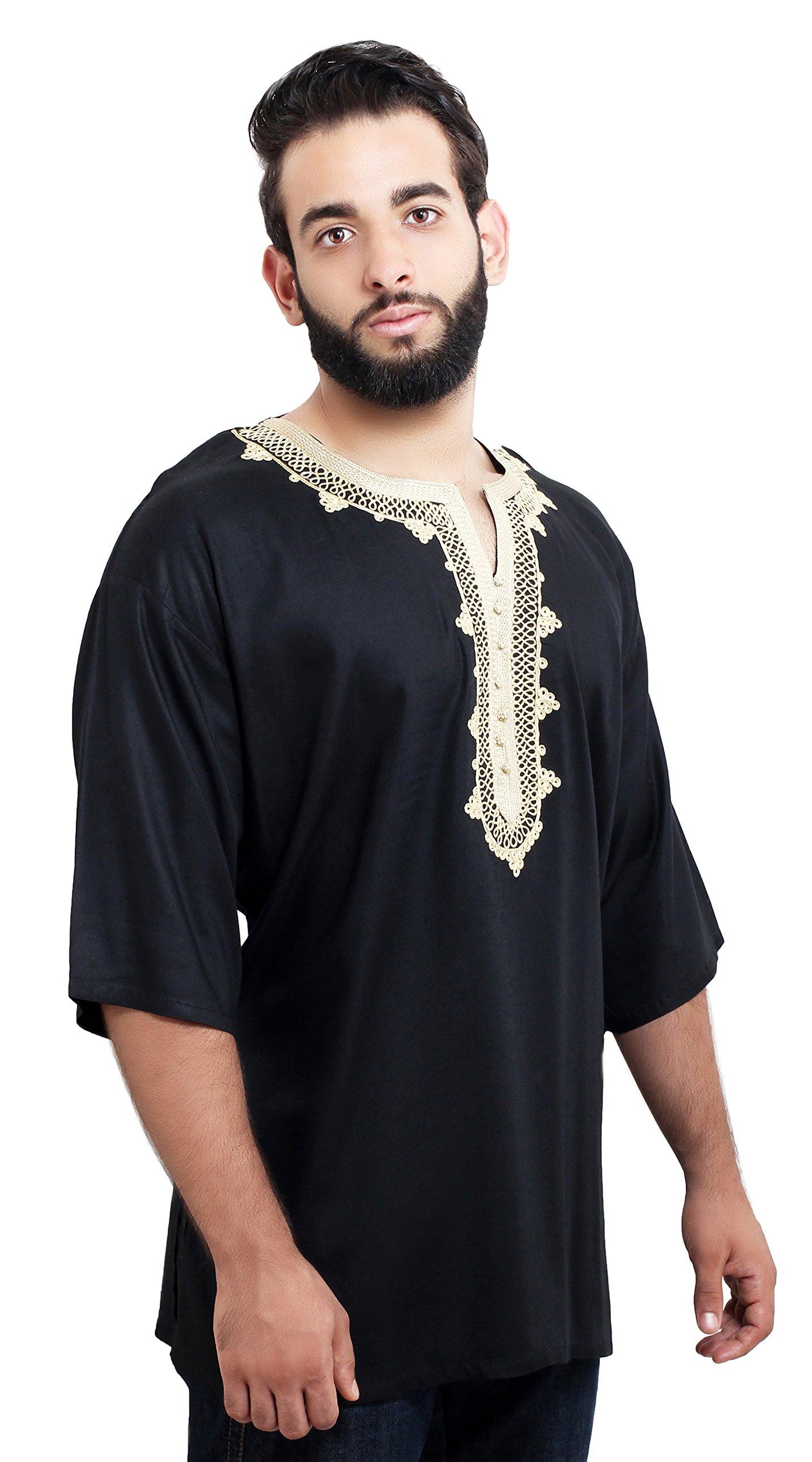 Moroccan Men Tunic Caftan Breathable Fiber Cotton Handmade Embroidery Ethnic Black