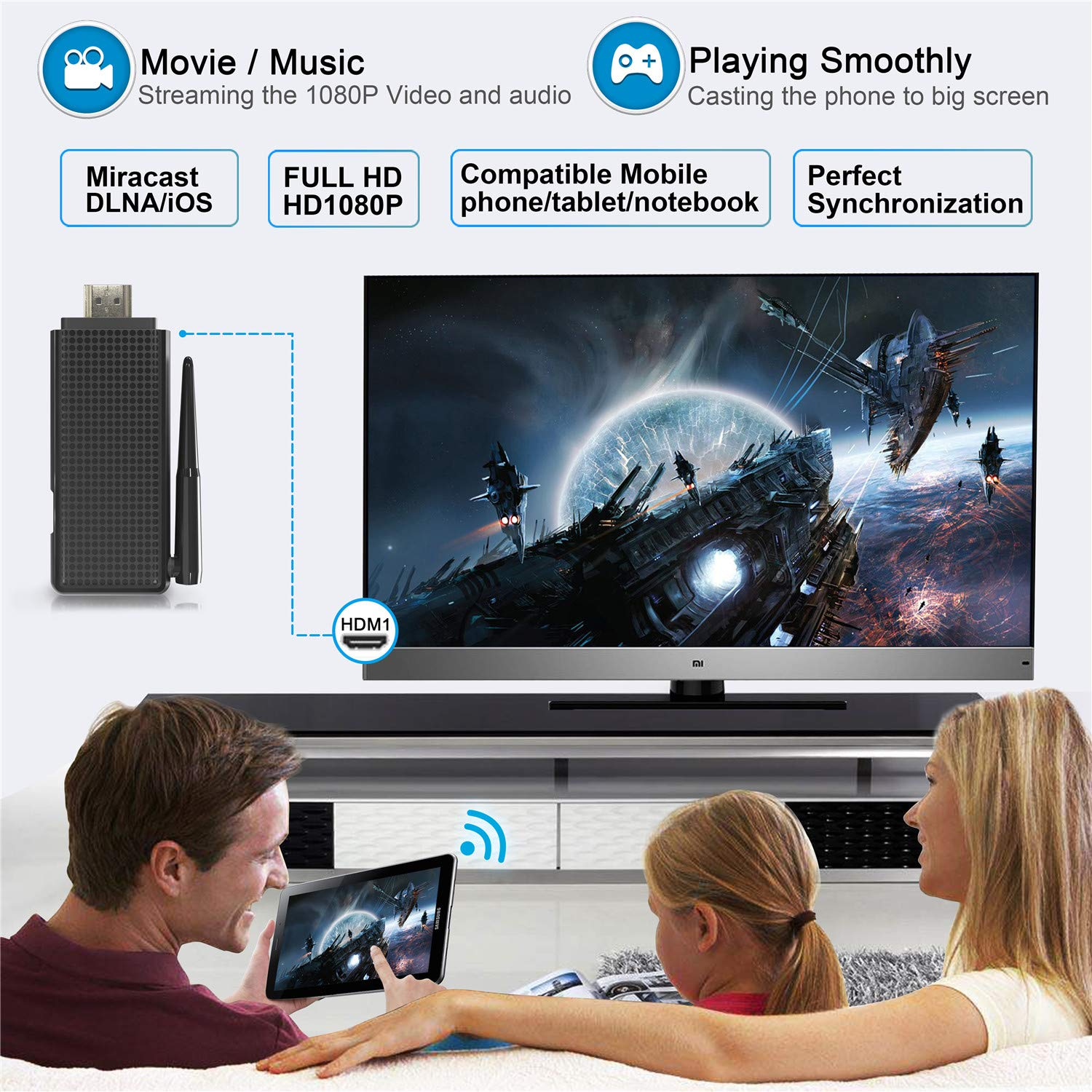 VICTONY Wireless And Wired 2 In 1 1080P WiFi Display Dongle, for TV,High Speed HDMI Miracast Dongle for Android/iOS Smartphone,Tablet,iPhone,iPad,Support AirPlay/Miracast / DLNA/Screen Mirroring by VICTONY (Image #7)