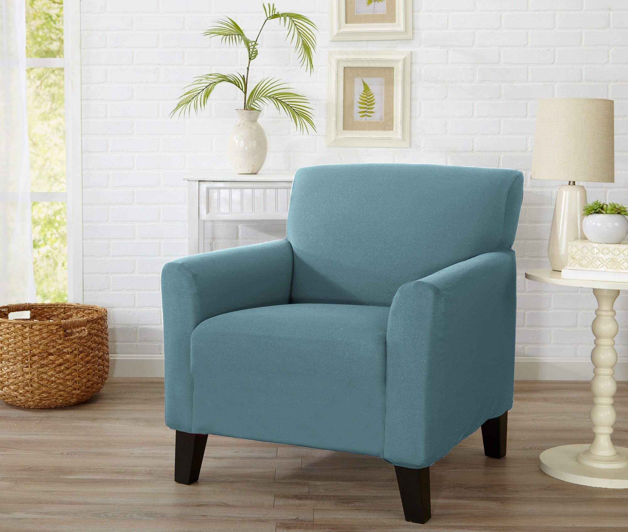 Home Fashion Designs Form Fit, Slip Resistant, Stylish Furniture Cover/Protector Featuring Lightweight Stretch Twill Fabric. Brenna Collection Strapless Slipcover. By (Chair, Smoke Blue - Solid)