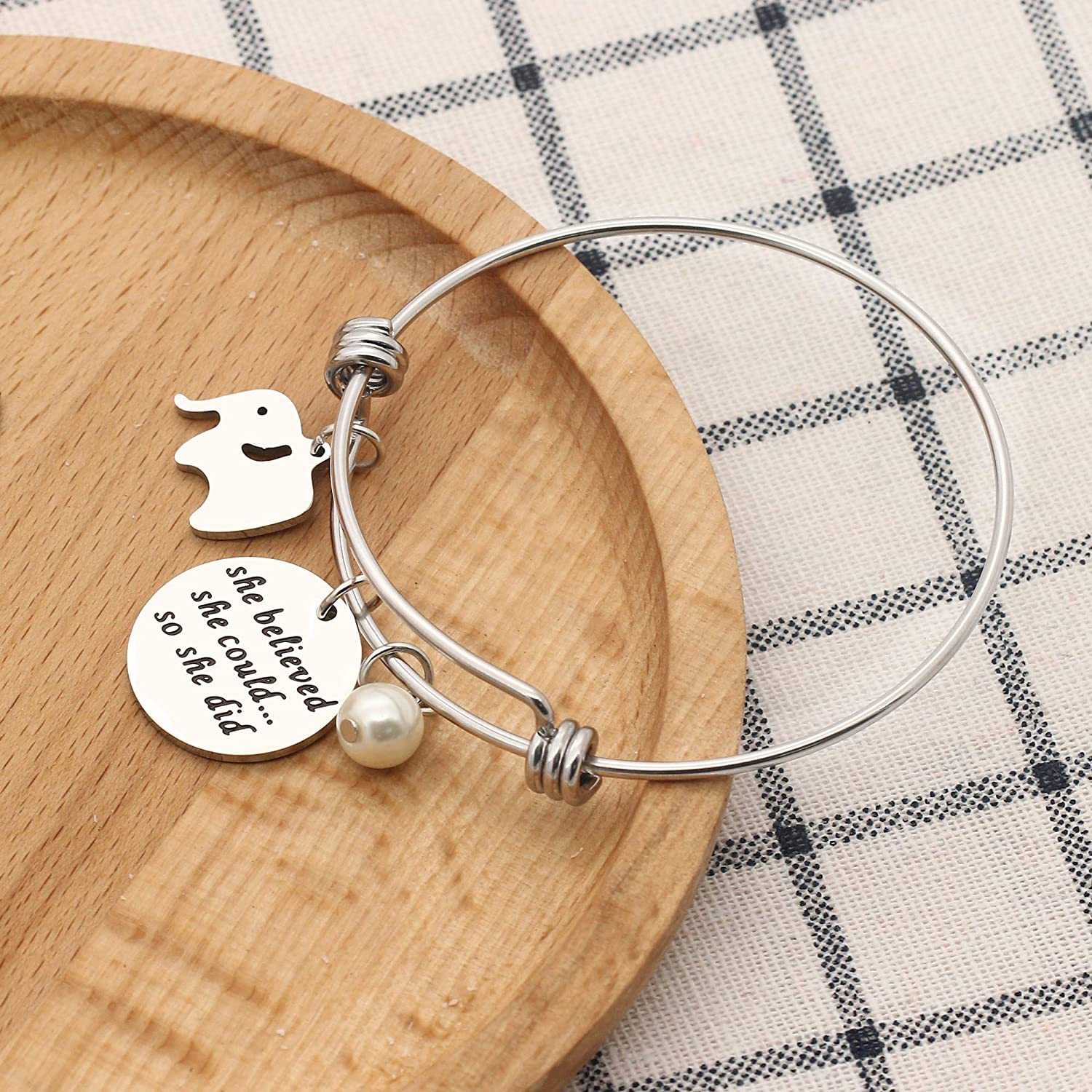 KENYG Inspirational Jewelry Engraved Bracelet She Believed she Could so she did Silver Adjustable Bracelet Bangle for Women Daughter Girl Birthday Gifts