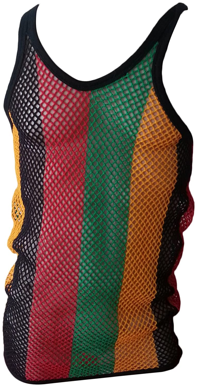 CRAZY LIZARD String Vest - Rasta 3 sizes 100% Cotton Quality String Vest. Red Yellow Green Medium