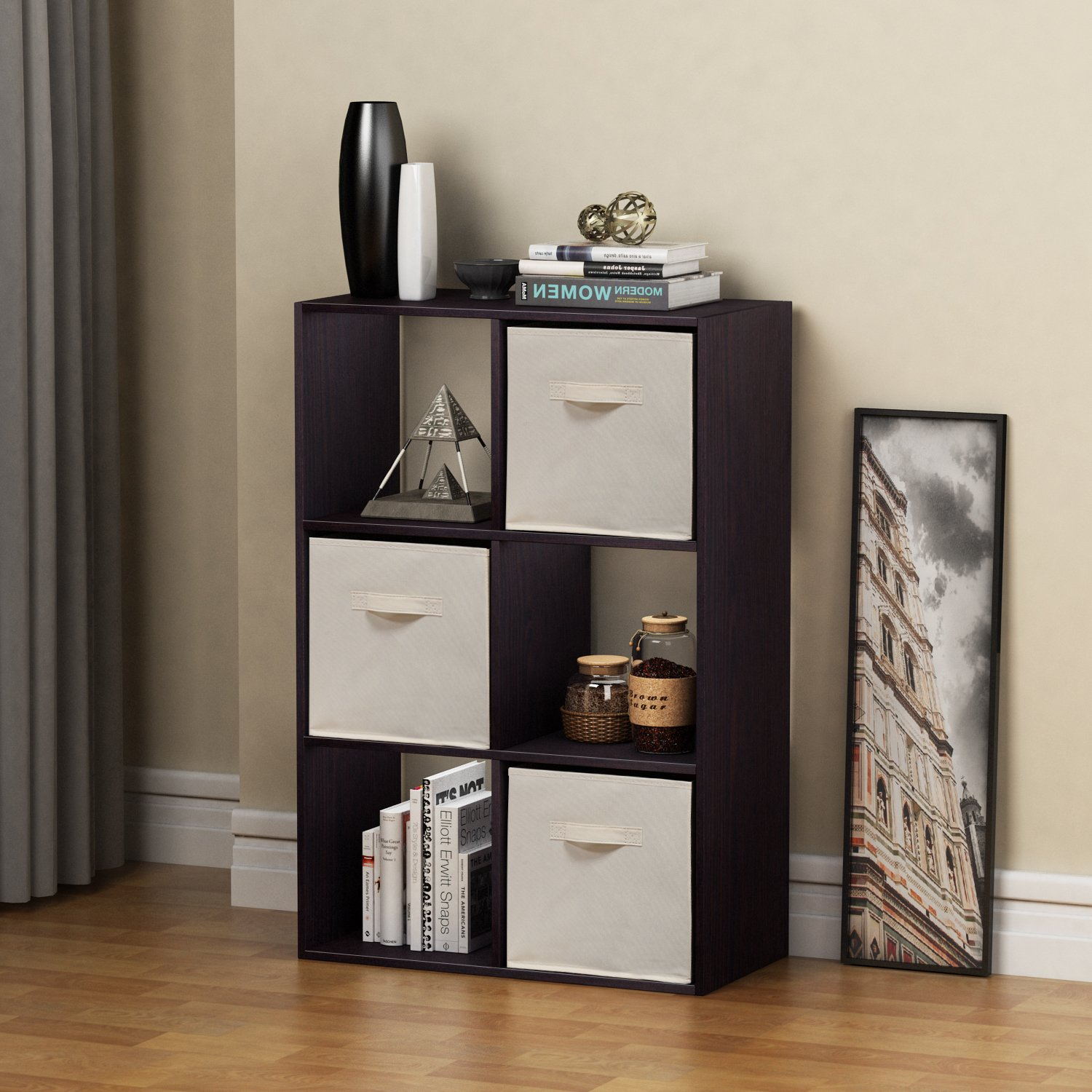 Homestar 6 Cube with Fabric Bins, Black Brown