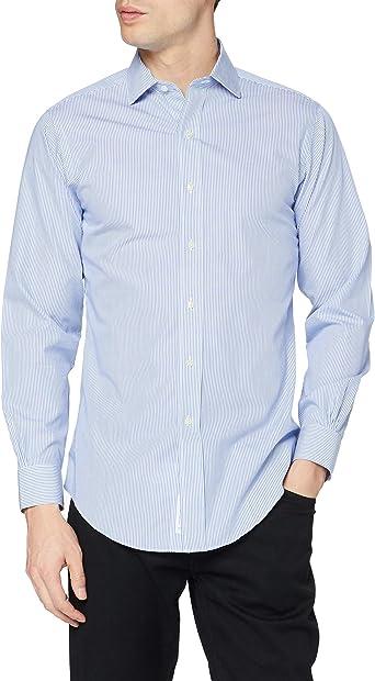 Brocato Camicia Regent Manica Lunga Camisa, Azul (Light ...