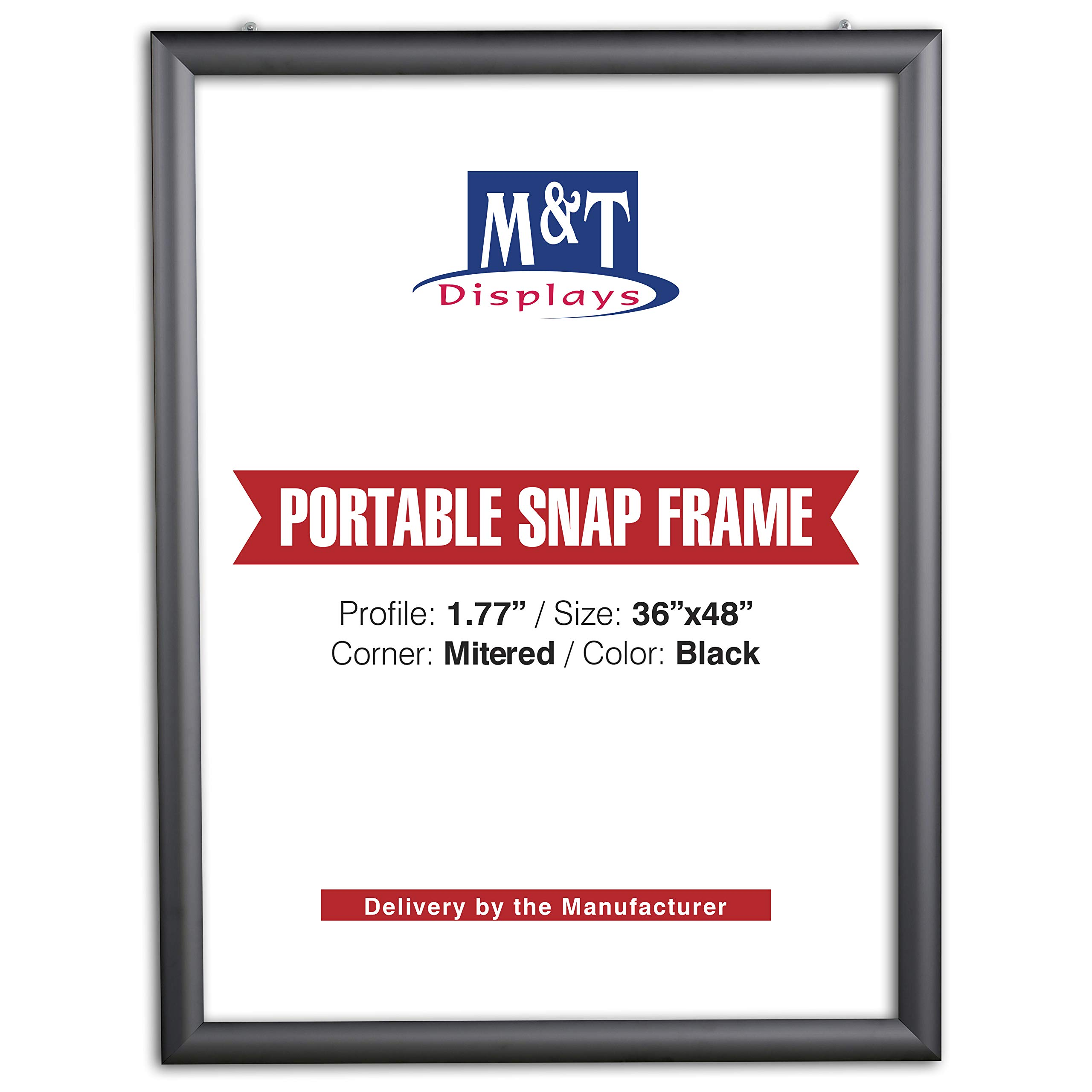 M&T Displays Portable Snap Frame, Poster Size, 1.77'' Profile with White Backing and Anti-Glare Pet Cover (36x48, Black)
