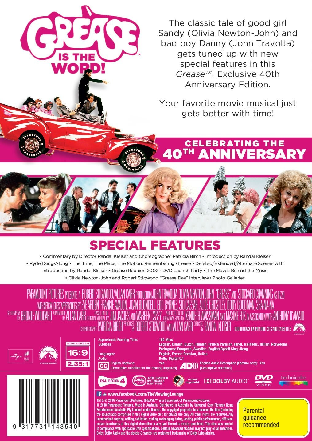 Amazon.com: Grease | 40th Anniversary | John Travolta, Olivia Newton-John | NON-USA Format | PAL | Region 4 Import - Australia: Olivia Newton-John, ...
