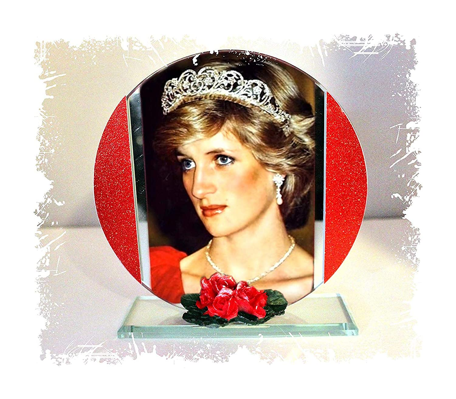 Cellini Plaques Princess Diana, English Rose, Photo Cut Glass Round Frame Plaque & Red Roses, Limited Edition