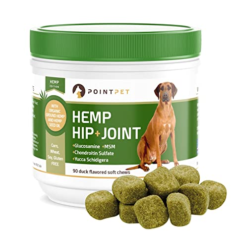 POINTPET Advanced Hip and Joint Supplement for Dogs with Organic Hemp Seeds  and Oil, Best Glucosamine Chondroitin, MSM, Omega 3-6, Improves Mobility,