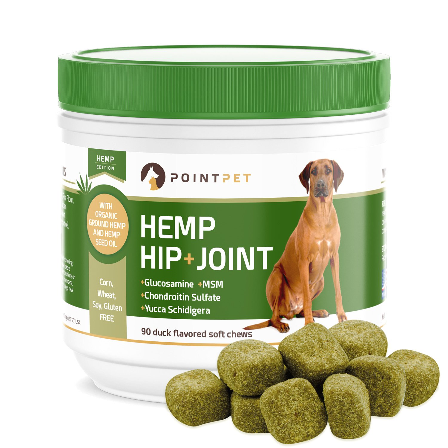 POINTPET Advanced Hip and Joint Supplement for Dogs with Organic Hemp Seeds and Oil, Best Glucosamine Chondroitin, MSM, Omega 3-6, Improves Mobility, Reduces Pain and Inflammation, 90 Soft Chews by POINTPET
