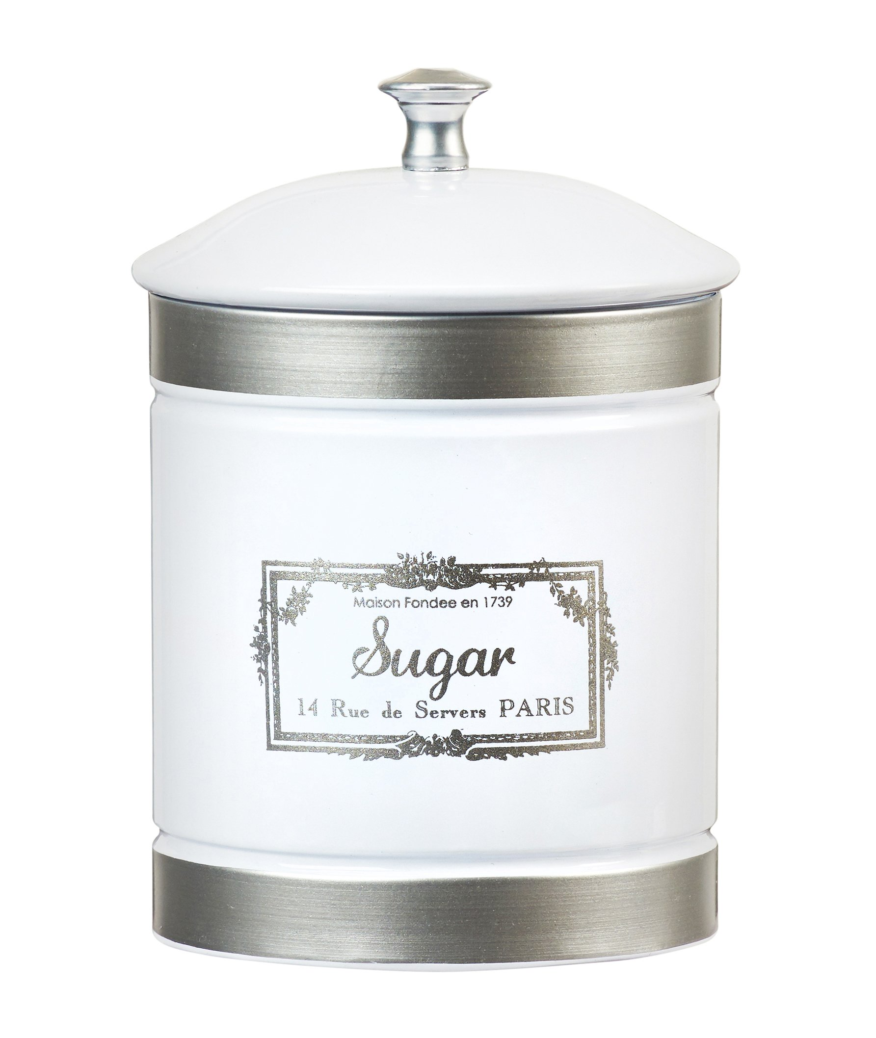 Amici Home, A5GS037R, Country Farmhouse Collection Sugar Metal Storage Canister, Push Top Lid, Food Safe, 36 Ounces