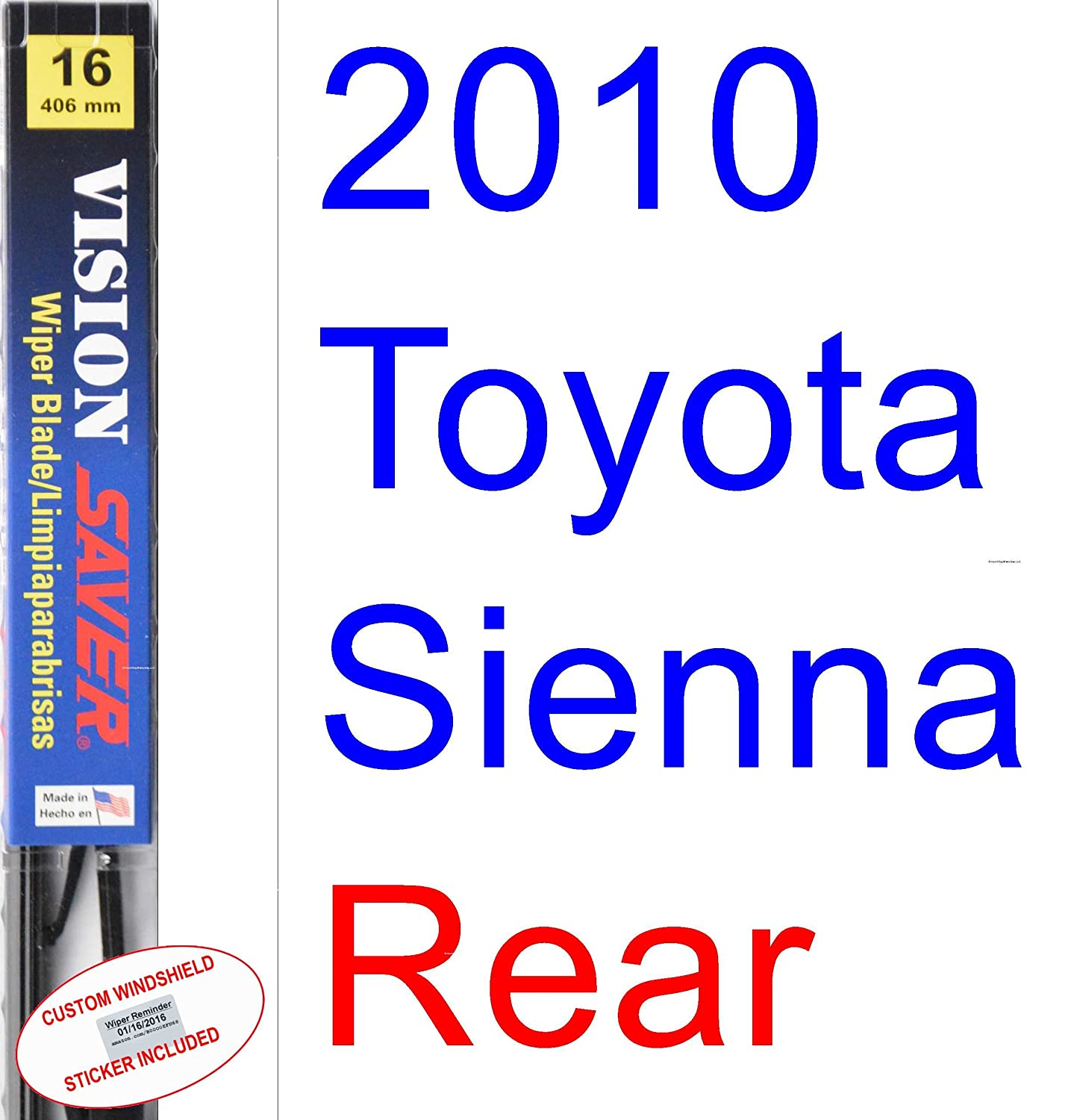 Amazon.com: 2010 Toyota Sienna Wiper Blade (Rear) (Saver Automotive ...