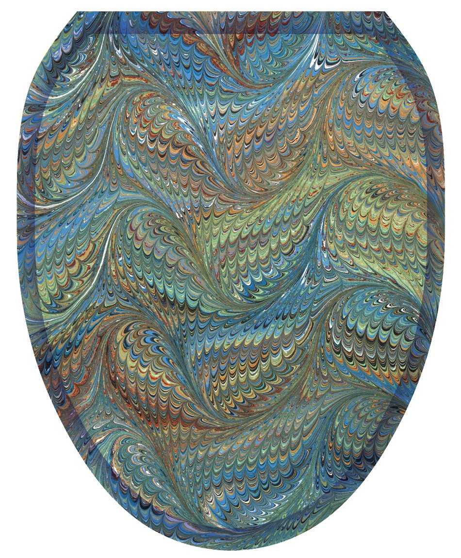 Toilet Tattoos TT-1050-O Victorian Feathers Decorative Applique for Toilet Lid, Elongated