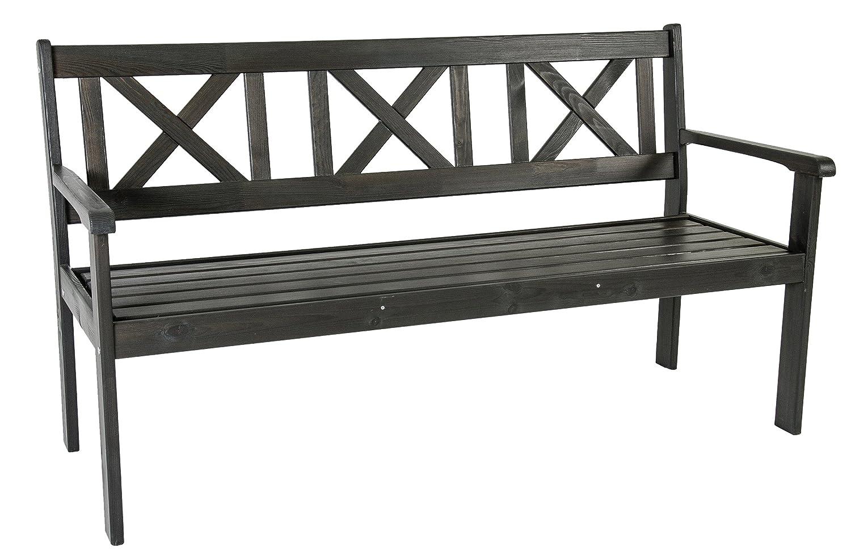 Trendy-Home24 Nordische 3-Sitzer Bank ca. 159 cm taupe grau braun Holzbank Gartenbank