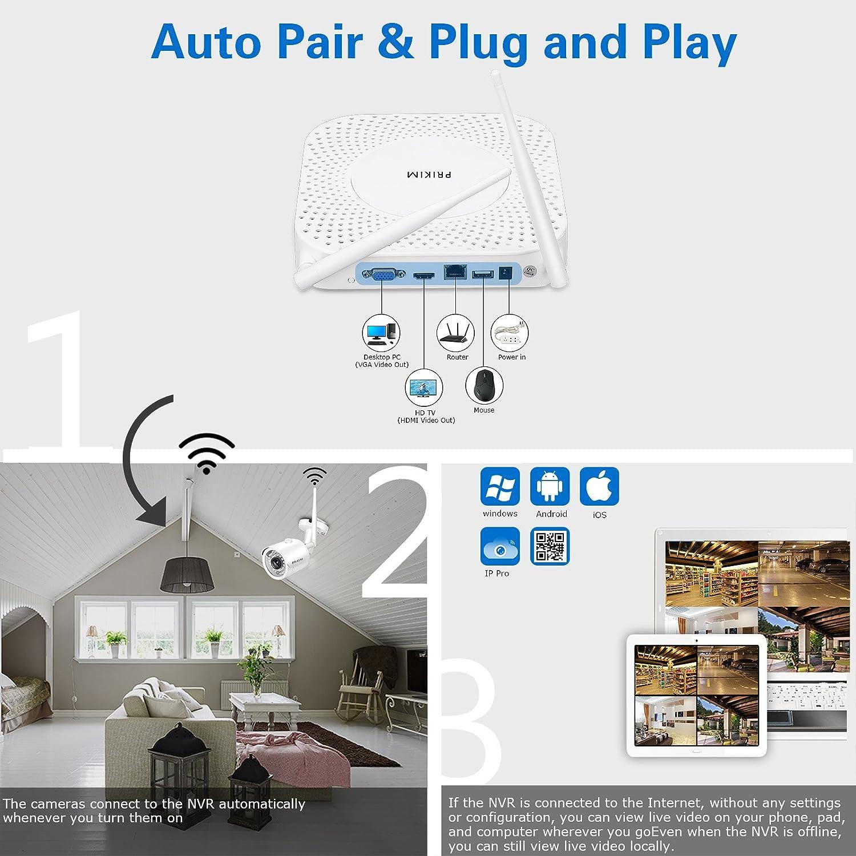 PRIKIM W5 Sistema de cámara de seguridad inalámbrica 1080P WiFi Video NVR con 2 cámaras inalámbricas Mini Bullet IP Impermeable IP66 Night Vision para ...