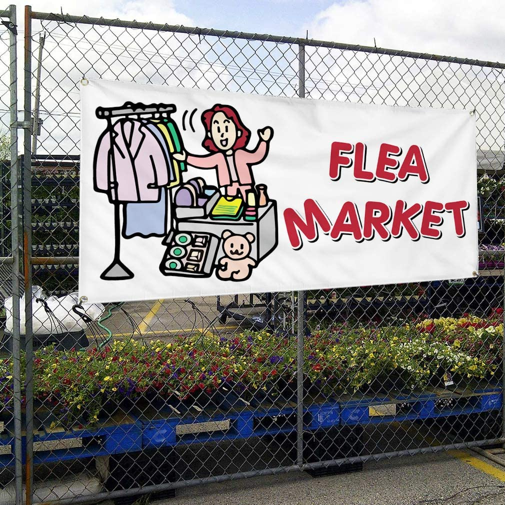 Vinyl Banner Multiple Sizes Flea Market Business E Business Outdoor Weatherproof Industrial Yard Signs Grey 8 Grommets 48x96Inches