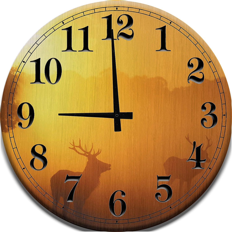 Amazon Com Large Wood Wall Clock Early Morning Sunrise Hunting Big Buck Deer Hunting Scene Wood Wall Art Home Decor Home Kitchen
